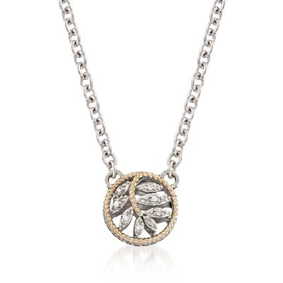 Andrea Candela Sterling Silver and 18kt Yellow Gold Leaf Necklace With Diamond Accents, , default