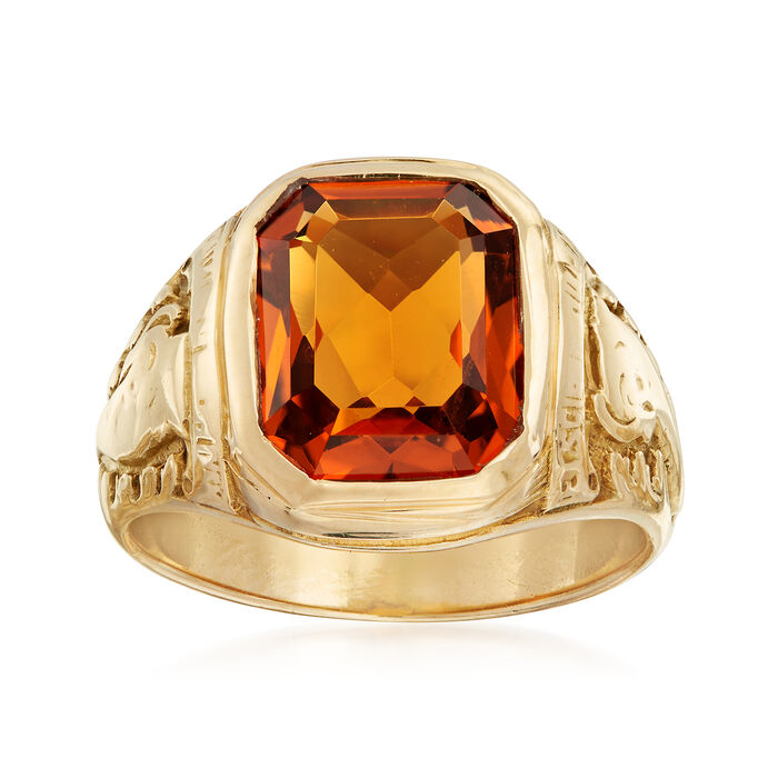 C. 1960 Vintage Tiffany Jewelry 3.20 Carat Citrine Ring in 14kt Yellow Gold. Size 6.5