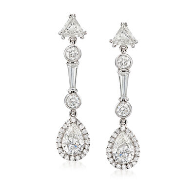 3.12 ct. t.w. Diamond Drop Earrings in 18kt White Gold