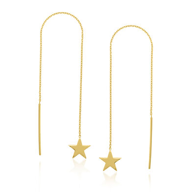 14kt Yellow Gold Star Threader Earrings