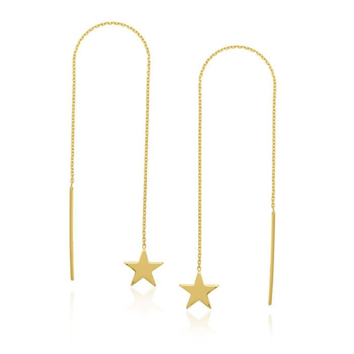 14kt Yellow Gold Star Threader Earrings