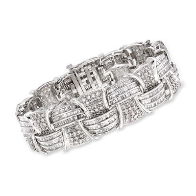 C. 1990 Vintage 12.85 ct. t.w. Diamond Basketweave Bracelet in 18kt White Gold, , default