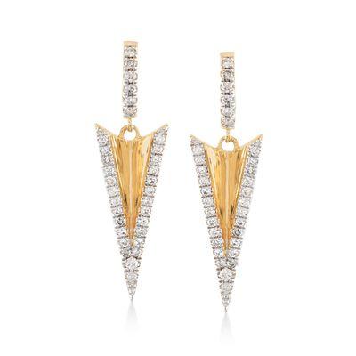 .31 ct. t.w. Diamond Arrow Drop Earrings in 14kt Yellow Gold , , default