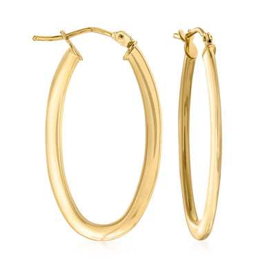 Italian 14kt Yellow Gold Oval Hoop Earrings