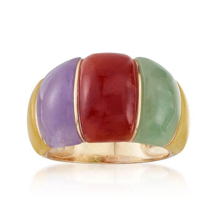 Multicolored Jade Dome Ring in 14kt Yellow Gold. Size 9, , default