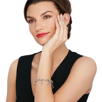 "C. 2000 Vintage 2.50 ct. t.w. Diamond Heart Charm Bracelet in 18kt White Gold. 8"", , default"