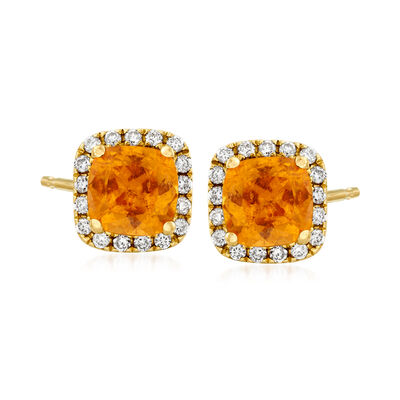 C. 1990 Vintage 1.33 ct. t.w. Mandarin Garnet and .25 ct. t.w. Diamond Earrings in 14kt Yellow Gold