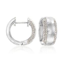""".25 ct. t.w. Diamond Huggie Hoop Earrings in Sterling Silver. 1/2"""", , default"""
