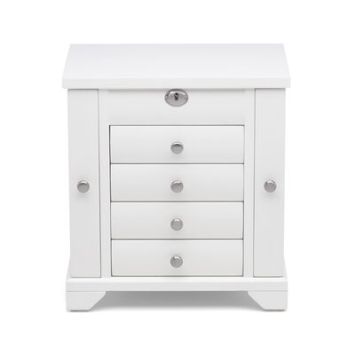 "Reed & Barton ""Lea"" Tall White Wooden Jewelry Box, , default"