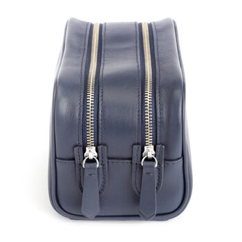 Royce Blue Leather Double-Zip Toiletry Bag