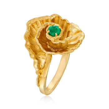 C. 1990 Vintage .10 Carat Emerald Flower Ring in 14kt Yellow Gold. Size 5.25, , default