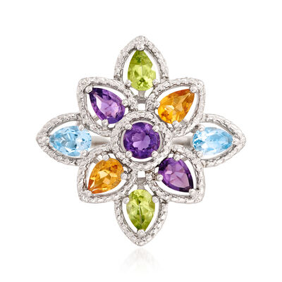 3.30 ct. t.w. Multi-Gemstone Floral Ring in Sterling Silver, , default