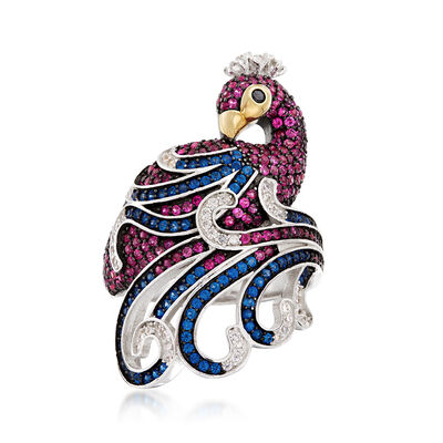 Simulated Gemstone and CZ Peacock Ring in Sterling Silver, , default