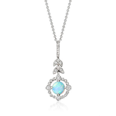 C. 2000 Vintage Opal and .20 ct. t.w. Diamond Leaf Pendant Necklace in 18kt White Gold