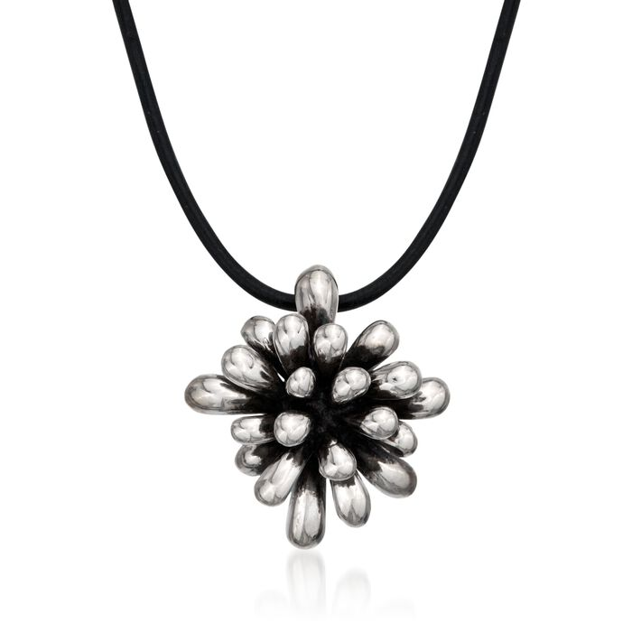 """Zina Sterling Silver """"Fireworks"""" Pendant Necklace on Leather Cord"""
