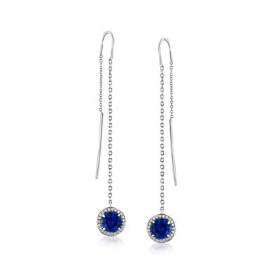 2.70 ct. t.w. Blue and White CZ Halo Threader Earrings in Sterling Silver, , default