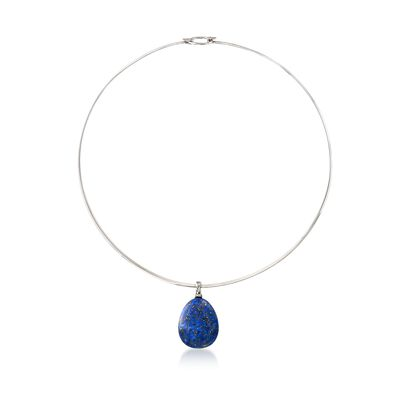 Lapis Drop Pendant Collar Necklace in Sterling Silver, , default