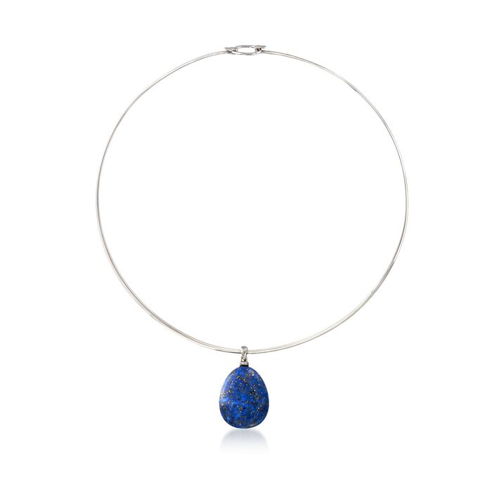 Lapis Drop Pendant Collar Necklace in Sterling Silver