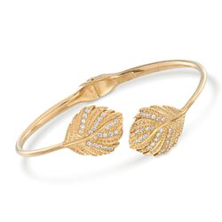 "Italian .44 ct. t.w. CZ Leaf Bypass Bangle Bracelet in 18kt Gold Over Sterling. 7"", , default"