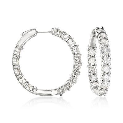 5.00 ct. t.w. Diamond Inside-Outside Hoop Earrings in 14kt White Gold, , default