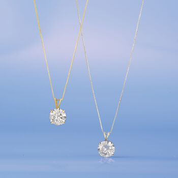 3.00 Carat CZ Solitaire Necklace in 14kt Yellow Gold, , default