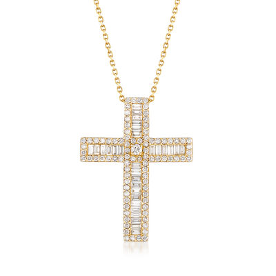 1.52 ct. t.w. Diamond Cross Necklace in 14kt Yellow Gold