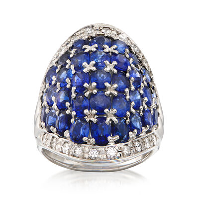 C. 1980 Vintage 7.31 ct. t.w. Oval Sapphire and .46 ct. t.w. Diamond Cluster Ring in Platinum, , default