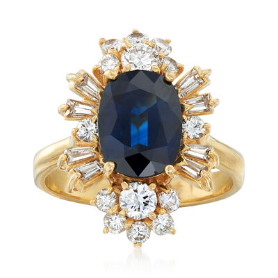 C. 1980 Vintage 2.55 Carat Sapphire and 1.35 ct. t.w. Diamond Ring in 18kt Yellow Gold, , default