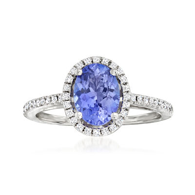 1.35 Carat Tanzanite and .18 ct. t.w. Diamond Ring in 14kt White Gold
