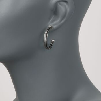 "ALOR ""Noir"" Black Stainless Steel Cable Hoop Earrings With 18kt White Gold. 1 1/8"", , default"