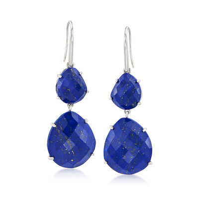 Lapis Drop Earrings in Sterling Silver, , default