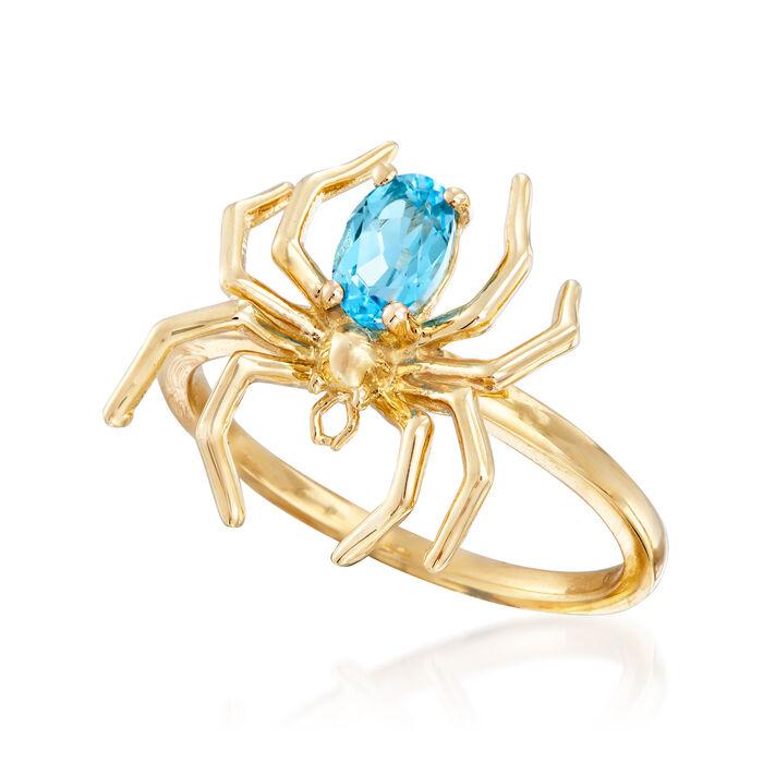.50 Carat Swiss Blue Topaz Spider Ring in 14kt Yellow Gold