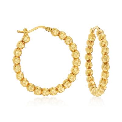 Italian 14kt Yellow Gold Beaded Hoop Earrings, , default