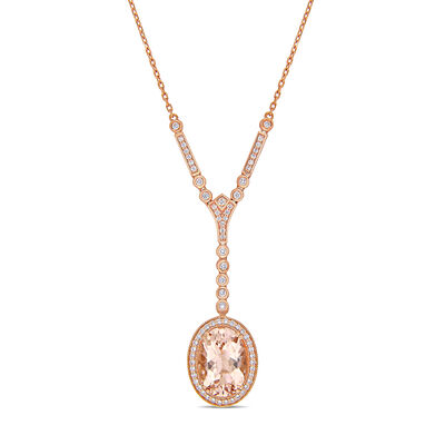 4.86 Carat Morganite and .68 ct. t.w. Diamond Lariat Necklace in 14kt Rose Gold