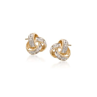 Diamond Love Knot Stud Earrings in 14kt Yellow Gold
