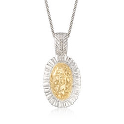Hammered Oval Two-Tone Pendant Necklace in 14kt Gold and Sterling Silver, , default