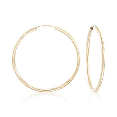 2mm 14kt Yellow Gold Endless Hoop Earrings