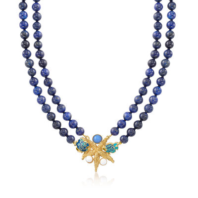 Italian Lapis and Blue and White Glass Bead Sea Life Necklace in 18kt Gold Over Sterling