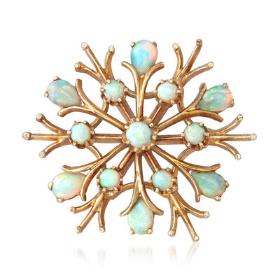 C. 1970 Vintage Opal Snowflake Pin in 14kt Yellow Gold, , default