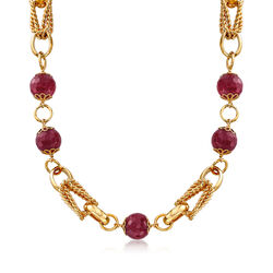 "90.00 ct. t.w. Purple Quartz Bead and Chain Link Necklace in 18kt Yellow Gold Over Sterling. 18"", , default"