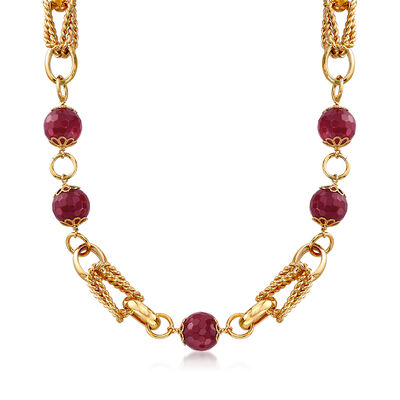90.00 ct. t.w. Purple Quartz Bead and Chain Link Necklace in 18kt Yellow Gold Over Sterling, , default