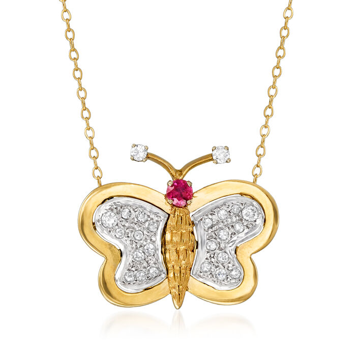 """C. 1980 Vintage .50 ct. t.w. Diamond and .20 Carat Ruby Butterfly Pendant Necklace in 14kt Yellow Gold. 18"""", , default"""