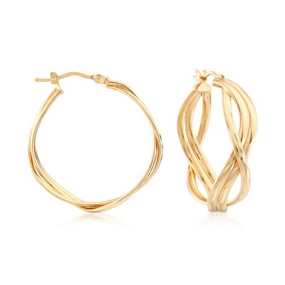 Italian 14kt Yellow Gold Twisted Hoop Earrings , , default