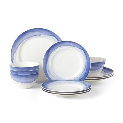 "Lenox 12-pc. ""Indigo Watercolor Stripe"" Dinnerware Set, , default"