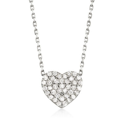 .25 ct. t.w. Diamond Heart Necklace in 14kt White Gold, , default