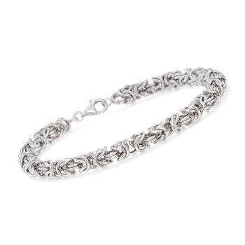 "Men's Sterling Silver Narrow Byzantine Bracelet. 8.5"", , default"