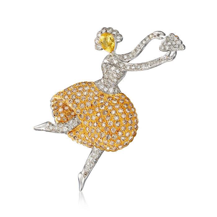 C. 1980 Vintage 2.50 ct. t.w. Diamond, .50 ct. t.w. Citrine Ballerina Pin in 18kt White Gold, , default