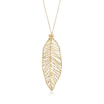 "Italian 14kt Yellow Gold Openwork Leaf Necklace. 18"", , default"