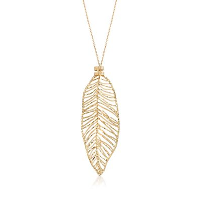 Italian 14kt Yellow Gold Openwork Leaf Necklace, , default