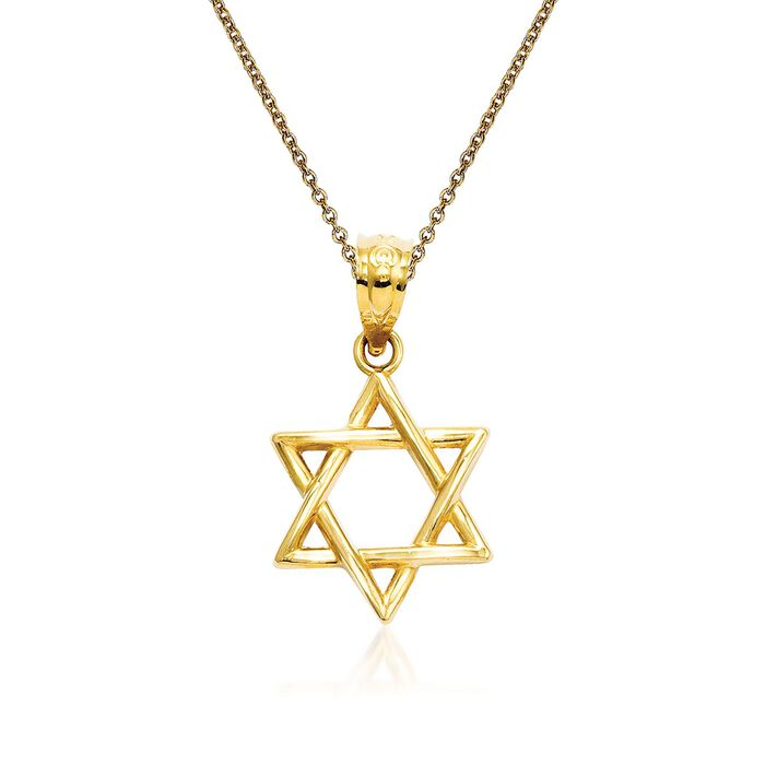 """14kt Yellow Gold Star of David Pendant Necklace. 18"""""""